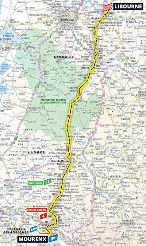 Tour de France 2021 Parcours etappe 19: Mourenx - Libourne