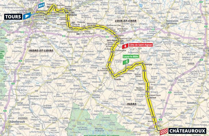 Tour de France 2021 Parcours etappe 6: Tours - Châteauroux